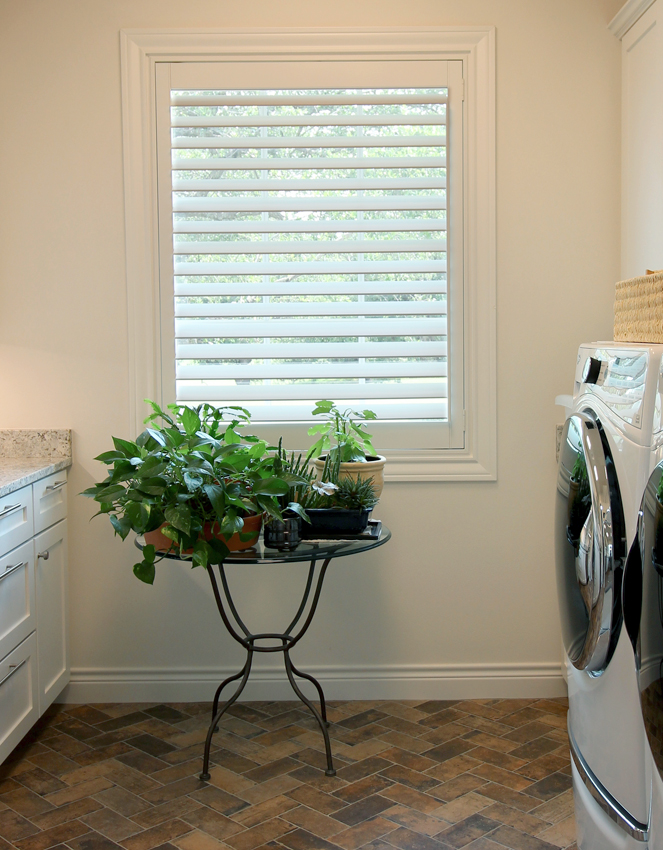 laundry room with green plants woven basket and white interior shutters San Antonio