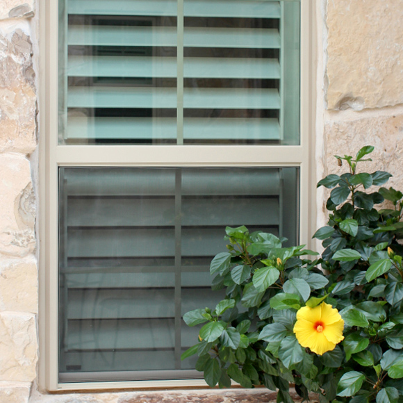 interior window shutter options hidden tilt bar exterior view with yellow flowers in San Antonio 78249