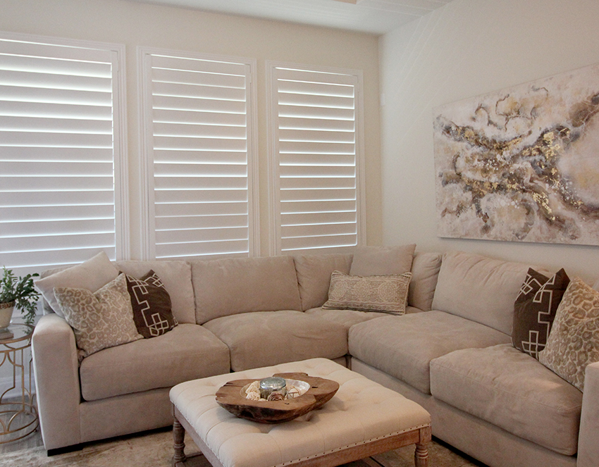 traditional living room white plantation shutters San Antonio 78249