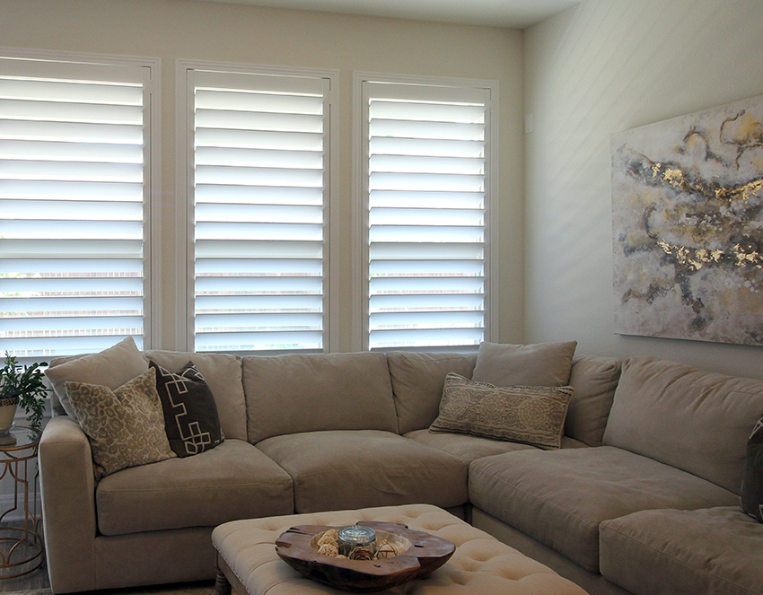 living room with tilted plantation shutter in San Antonio Tx