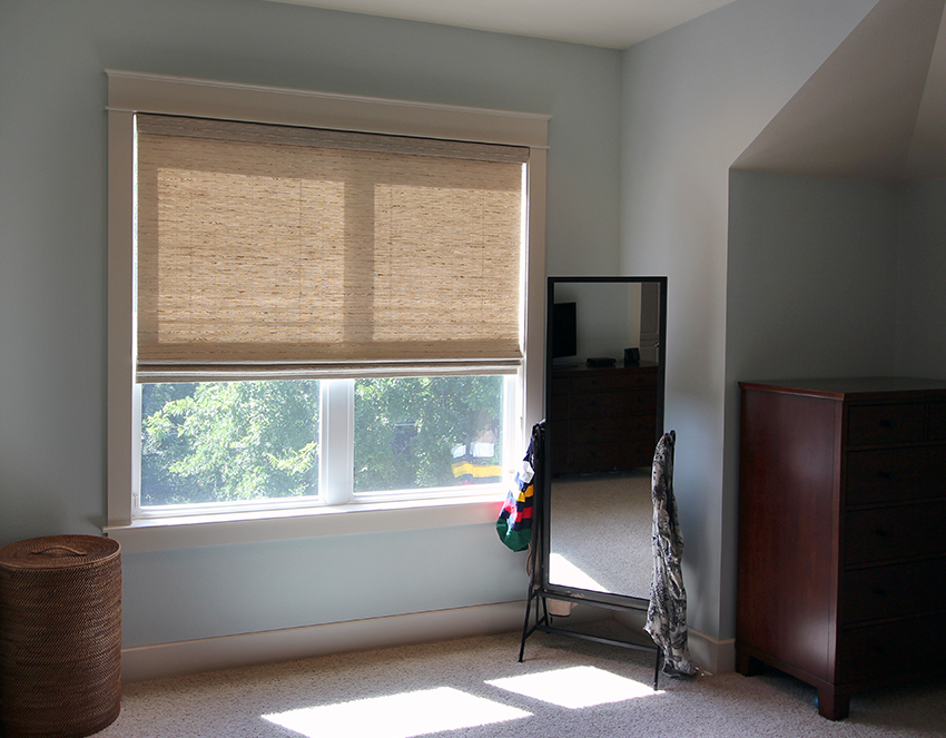hunter douglas provenance woven wood shades in bedroom