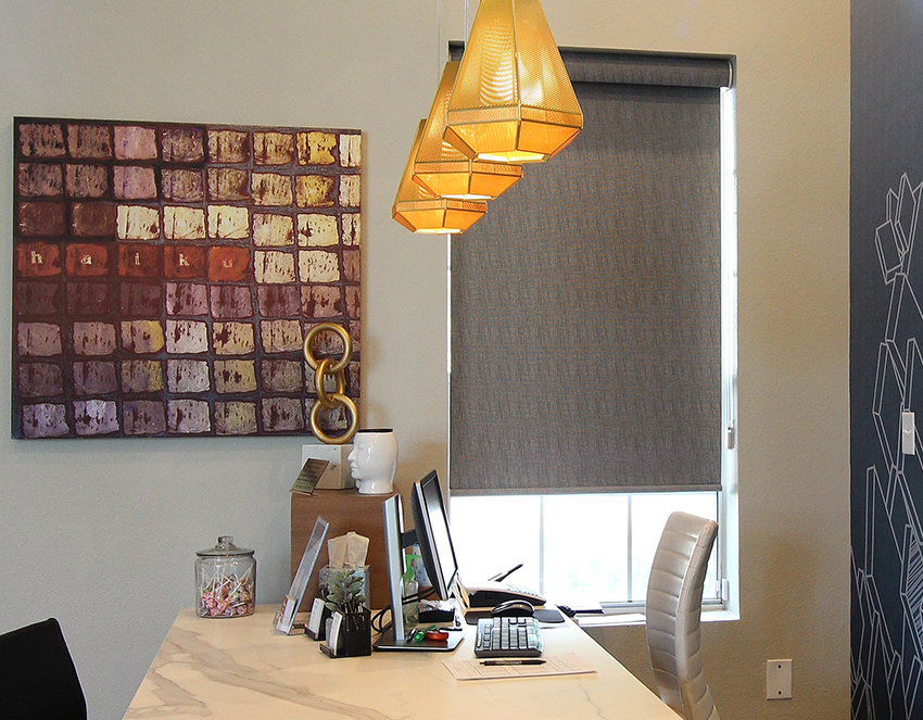 office grey hunter douglas designer roller shades San Antonio