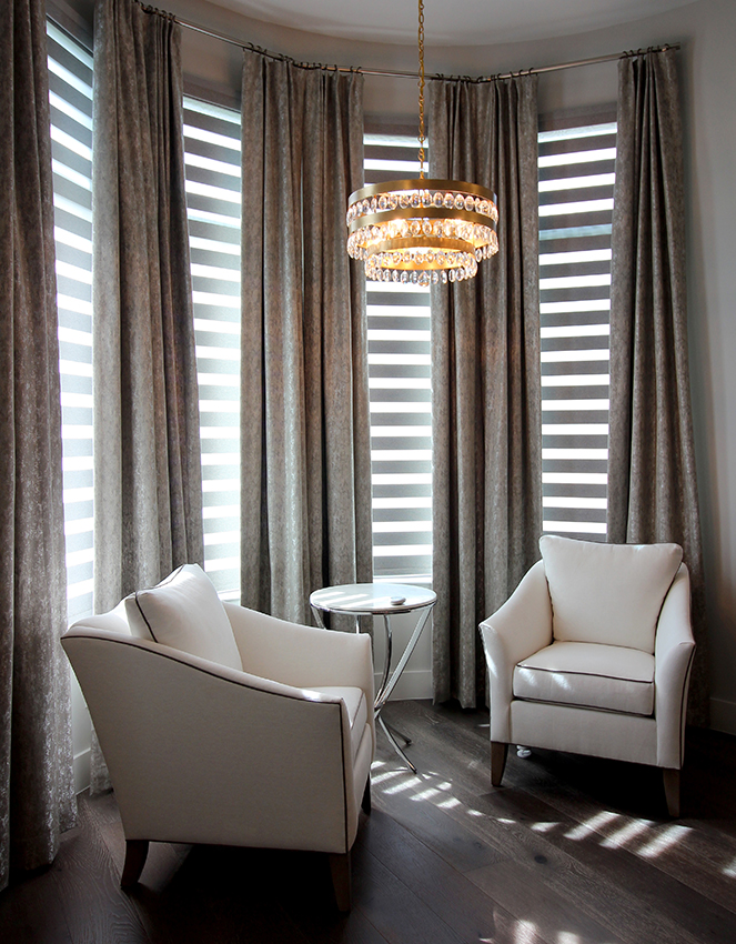 sitting room hunter douglas banded shades San commercial office with hunter douglas designer roller shades San Antonio