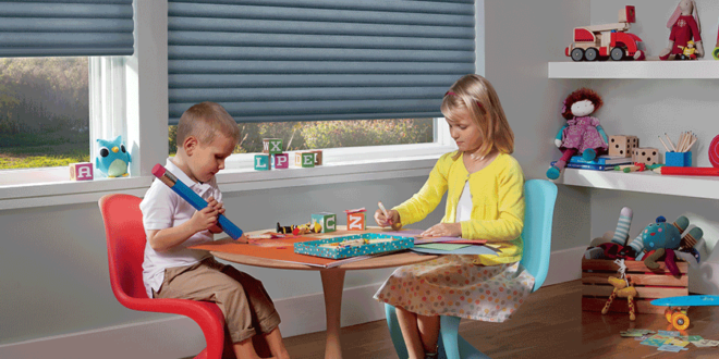 Children playing at a table near safe blinds in San Antonio home.