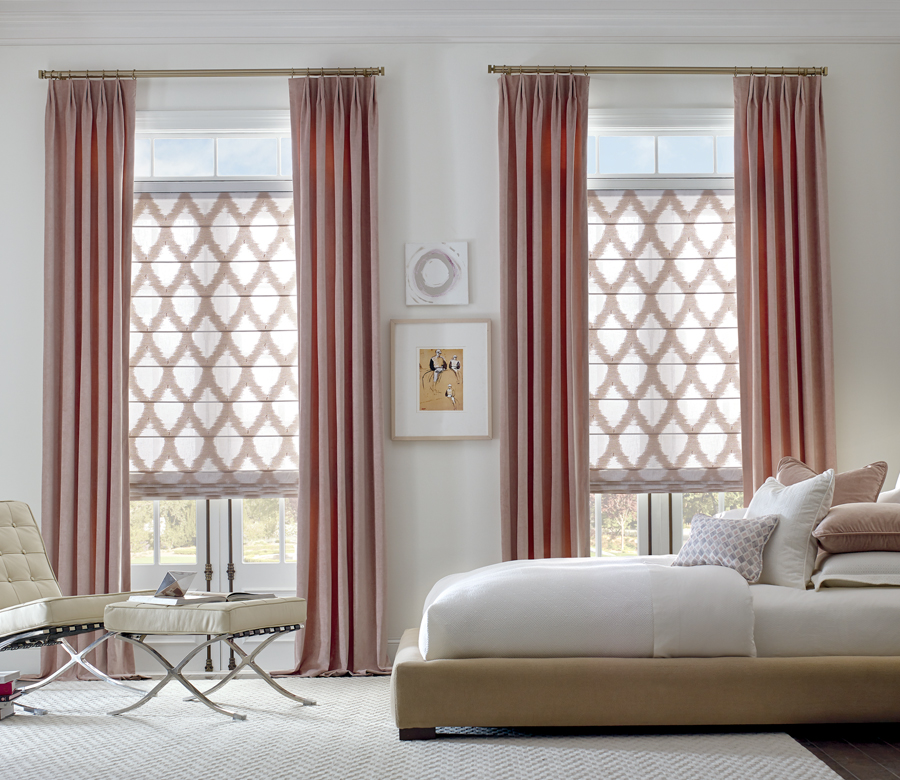 bedroom custom window treatments patterned roman shades with side draperies and gold hardware San Antonio TX