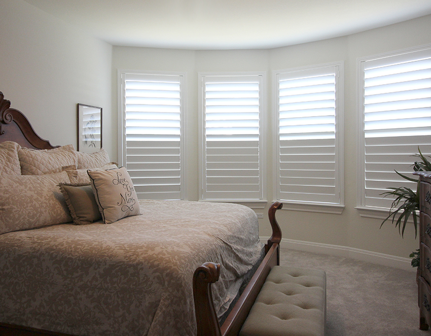 bedroom white shutters locally made in texas