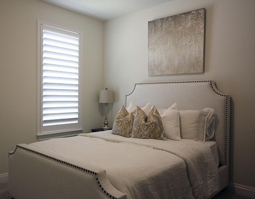 white shutters in San Antonio TX bedroom with hidden tilt