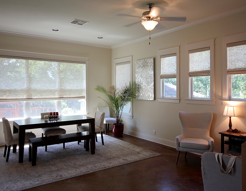 living room provenance woven wood shades hunter douglas San Antonio