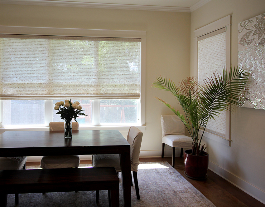 dining room with woven woods in San Antonio, TX home