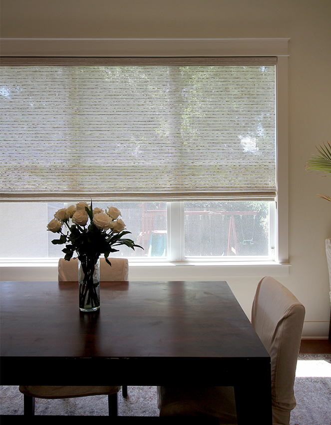 dining room large window with woven wood shades San Antonio, TX home