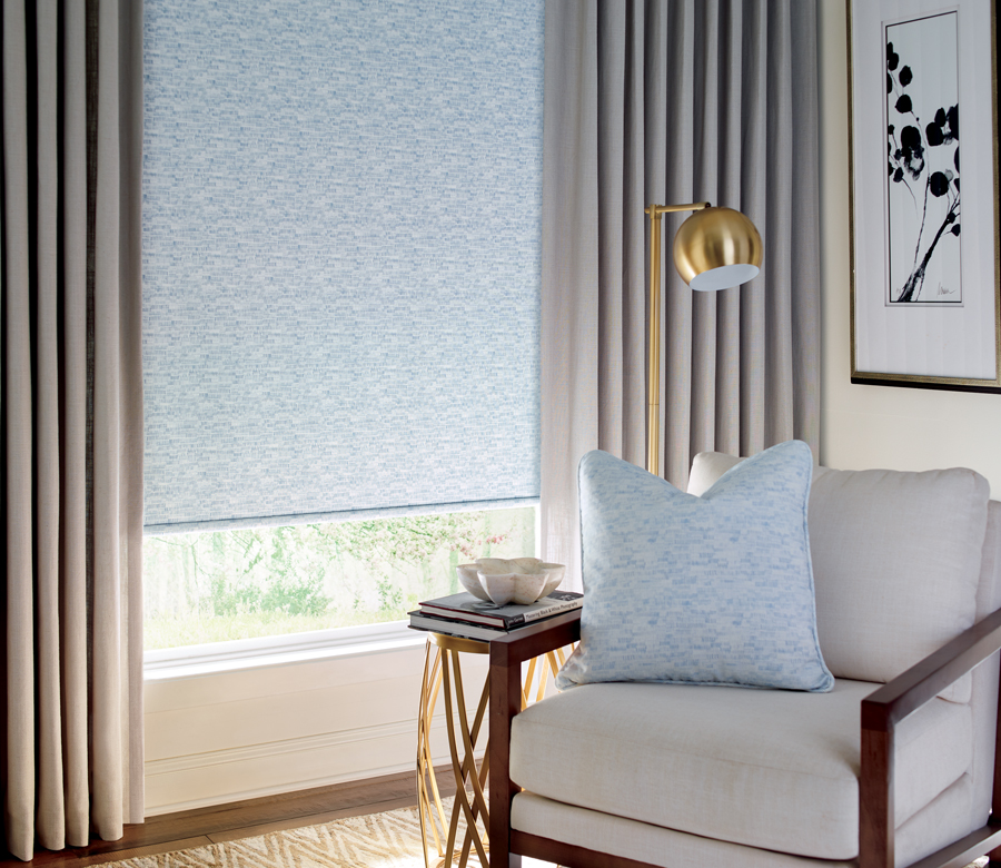 fabric roller shade with side drapery panels custom window treatments San Antonio TX