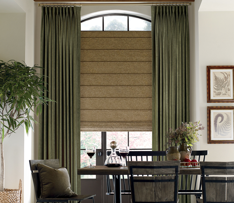 dining room custom window treatments roman shades on arched window with olive green draperies san antonio, TX