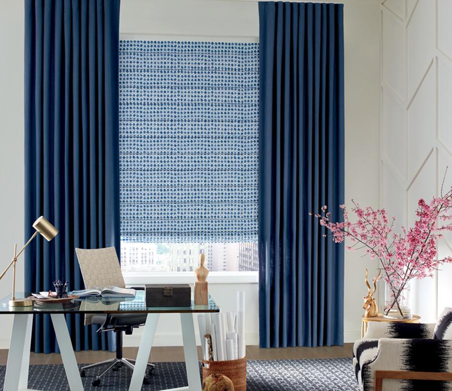 design studio layered roman shades custom window treatments San Antonio TX