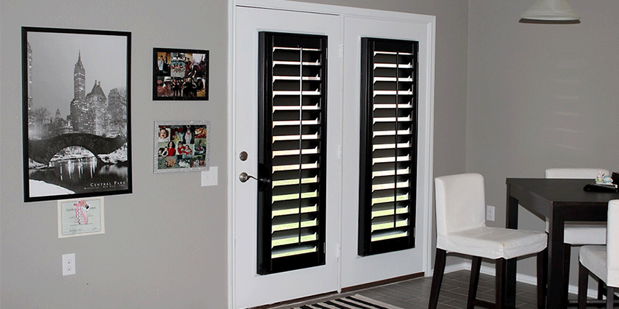 the color black in plantation shutters on french doors