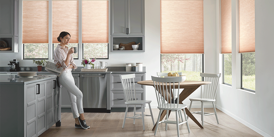kitchen with window shades san antonio