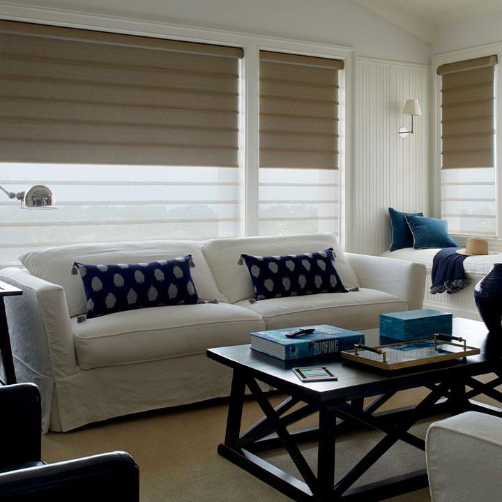 dual roman shades in living room San Antonio TX