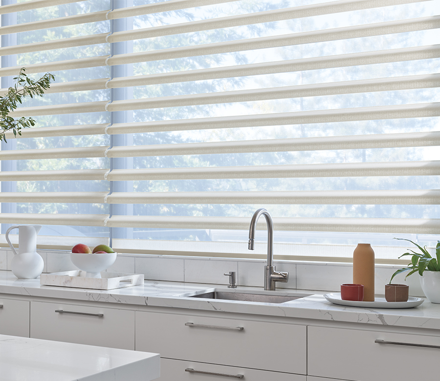 pirouette shades with smart home features in kitchen San Antonio TX