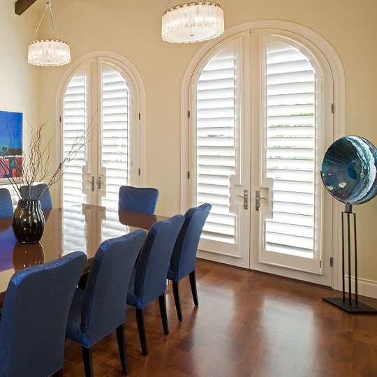 arched door window treatments as interior shutters in San Antonio TX
