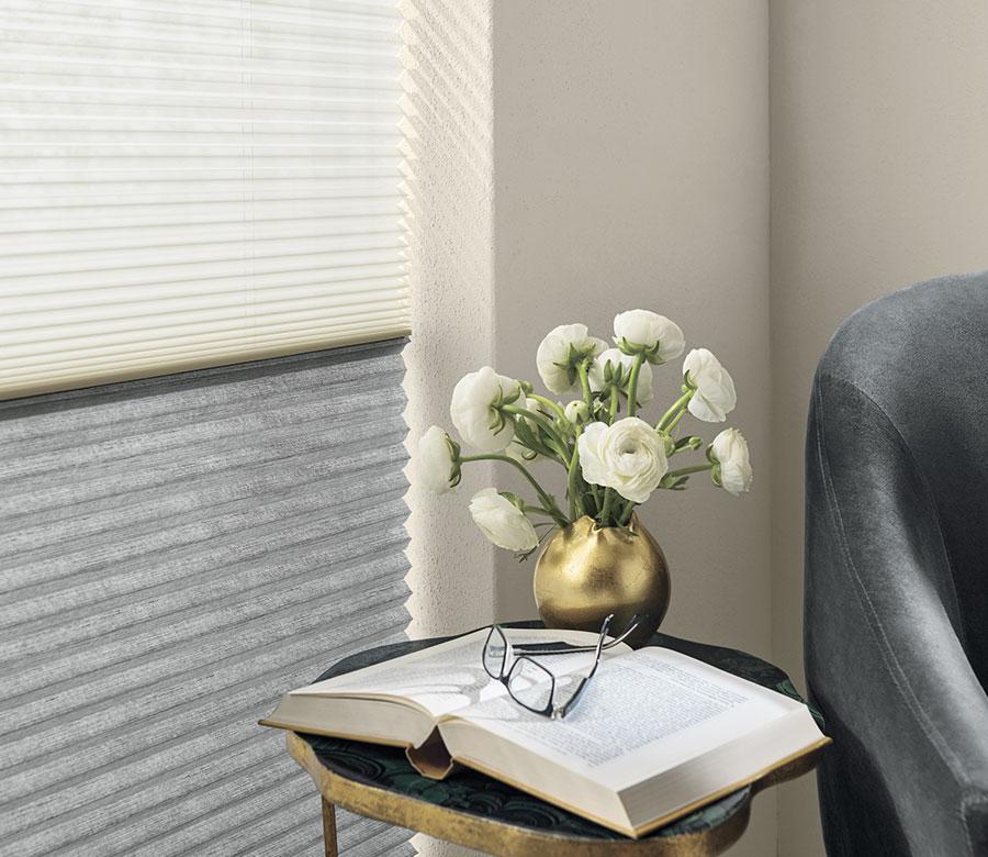 dual honeycomb shades in gray and white San Antonio TX