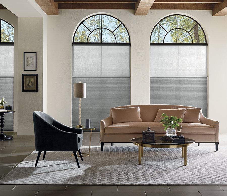 black arched windows with dual cellular shades San Antonio TX
