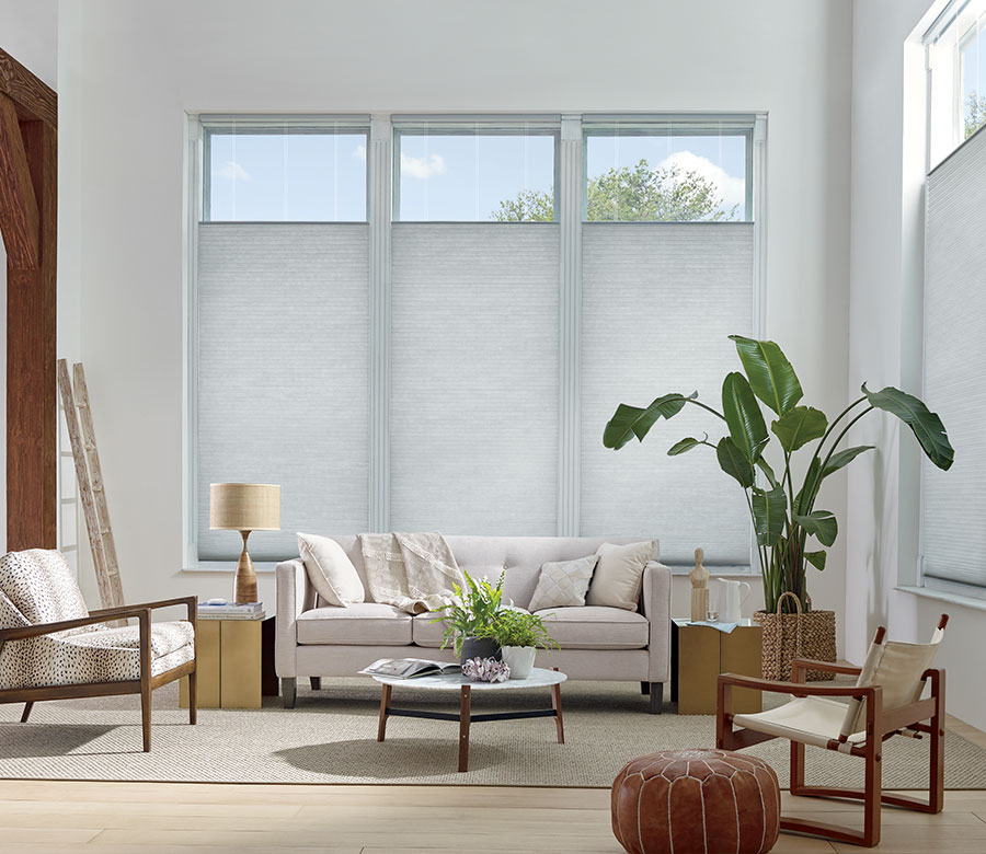 honeycomb shades with top down bottom up in San Antonio TX living room