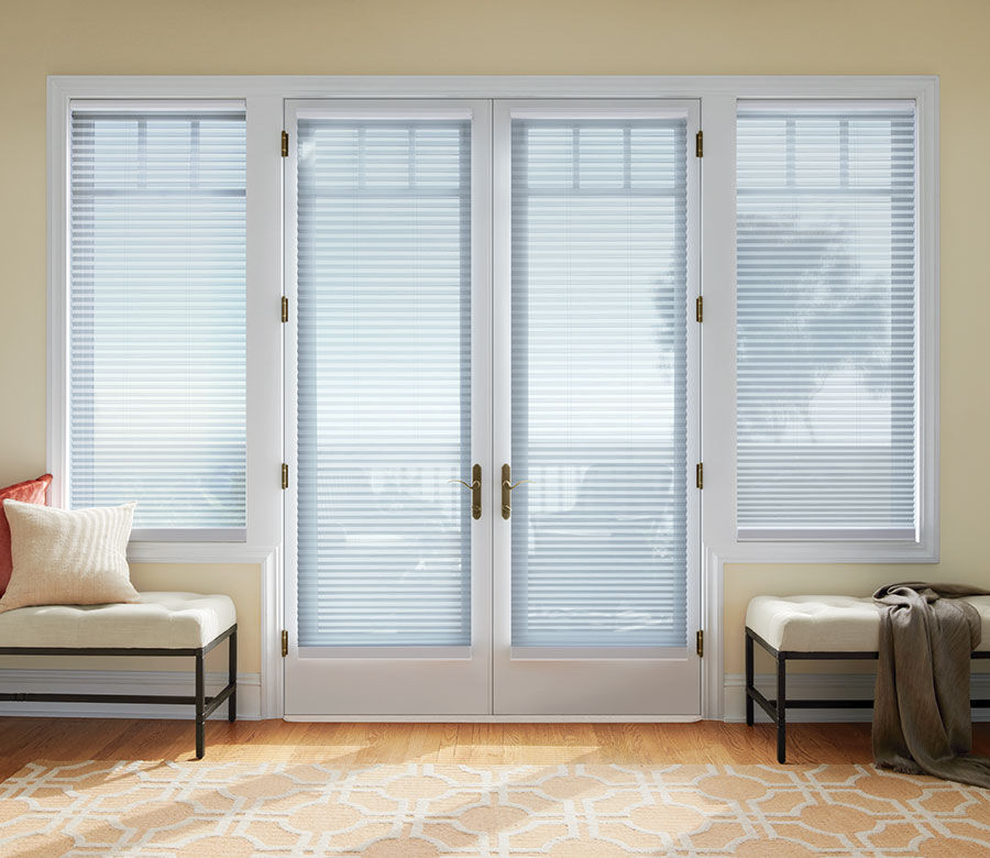 light filtering honeycomb shades on french doors in San Antonio TX
