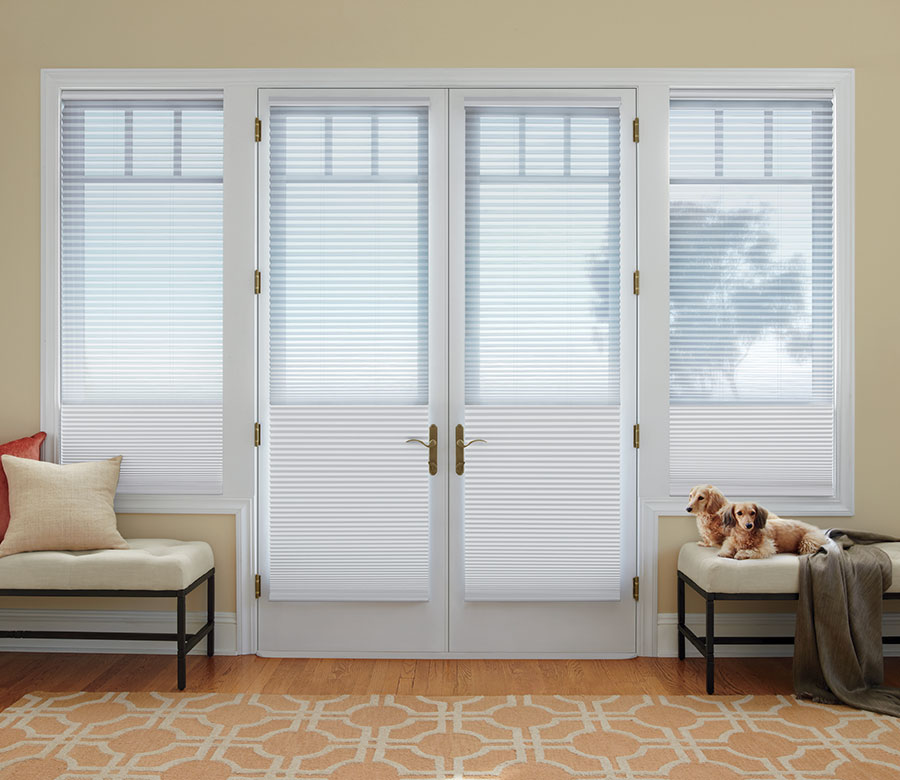 dual cellular shades on french doors in San Antonio TX