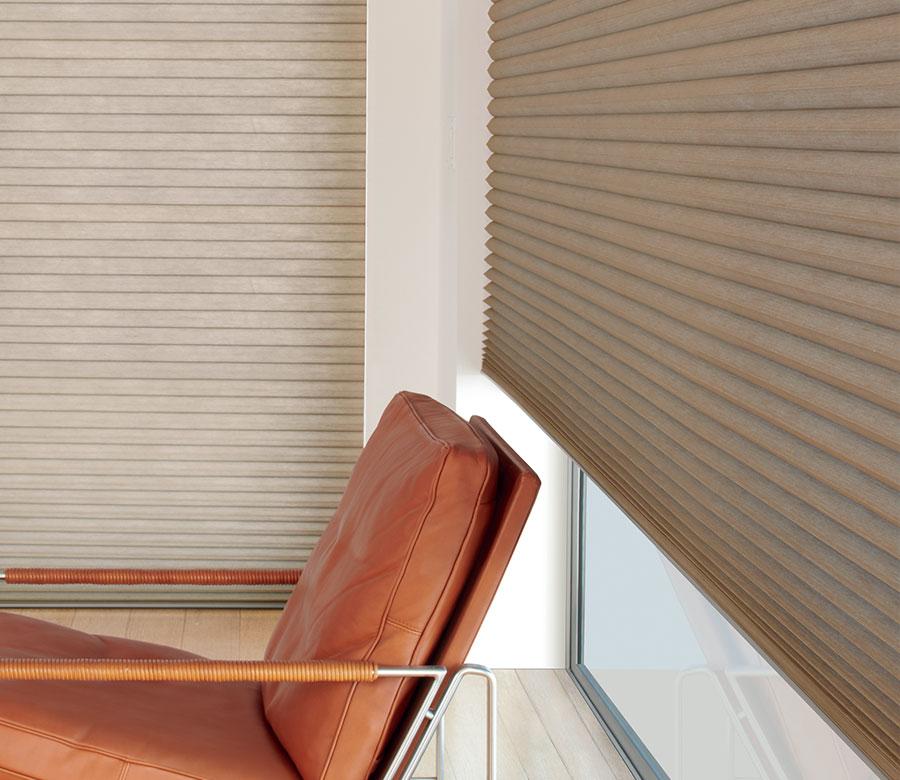 duette cellular shades on corner window in San Antonio TX