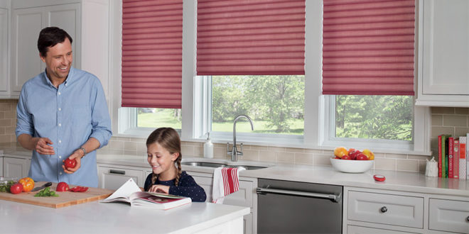 kitchen with red automated cellular roller shades in San Antonio TX