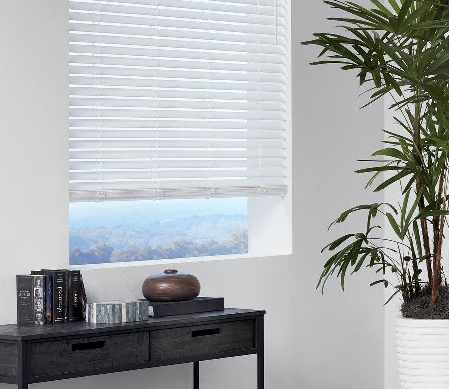 faux wood blinds in white finish overlooking Texas Hill Country