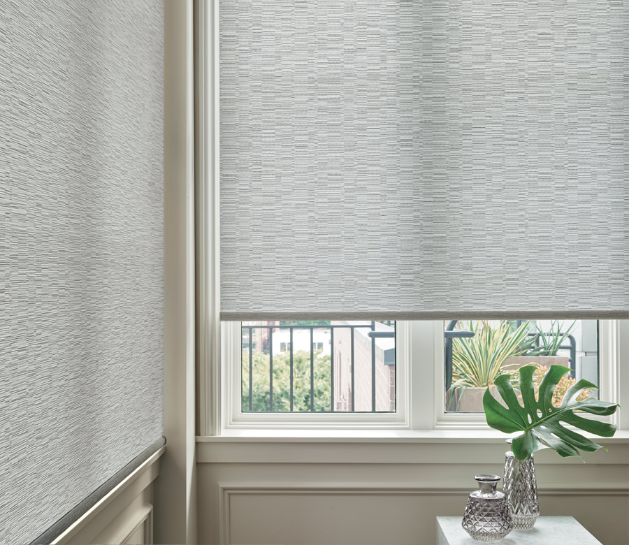 close up of textured gray roller shades in San Antonio TX