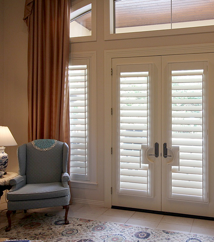 white shutters for french doors in San Antonio TX