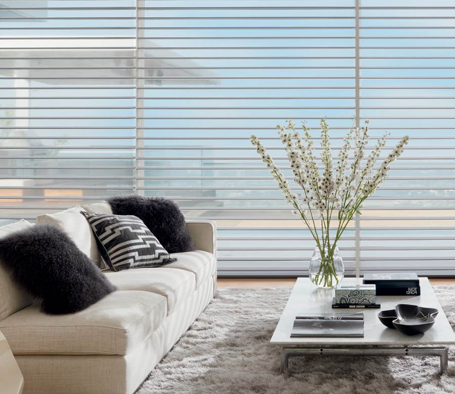 Wall of windows covered in light filtering shades in San Antonio living roomshades