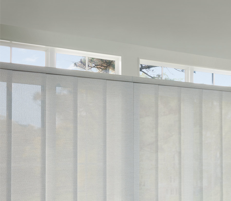 soft gray panel track blinds for sliding doors in San Antonio