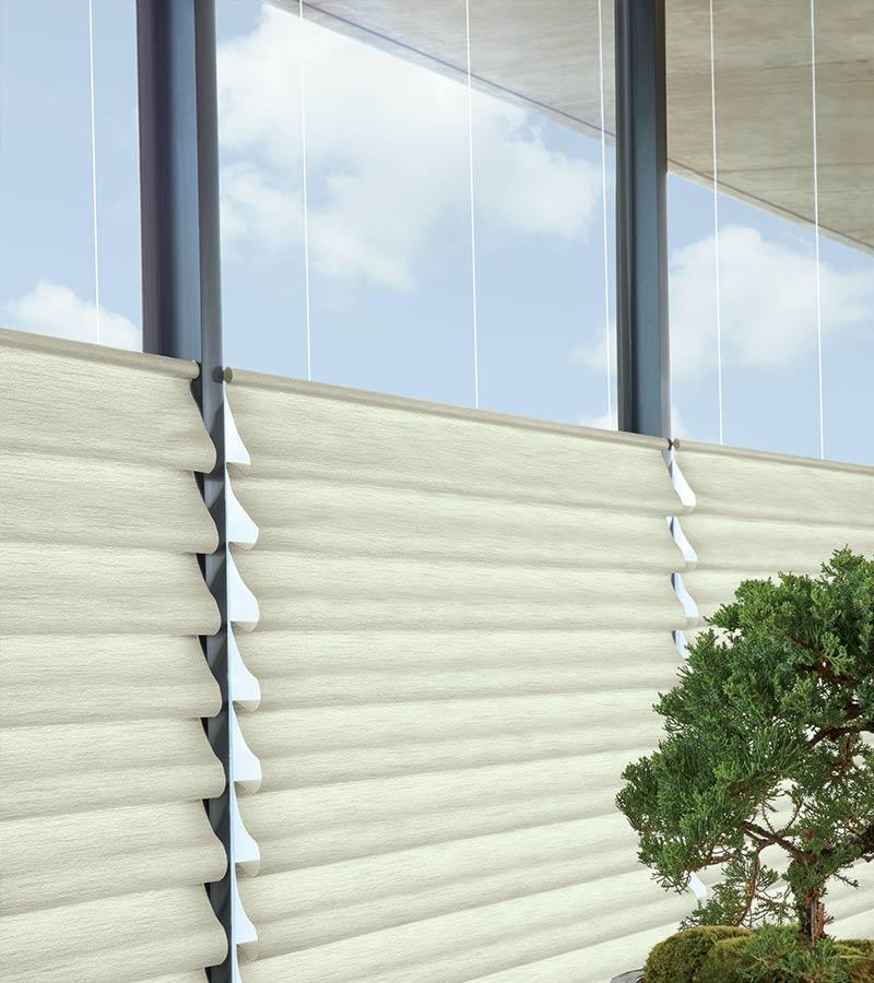 top down roman shades on large windows in San Antonio TX