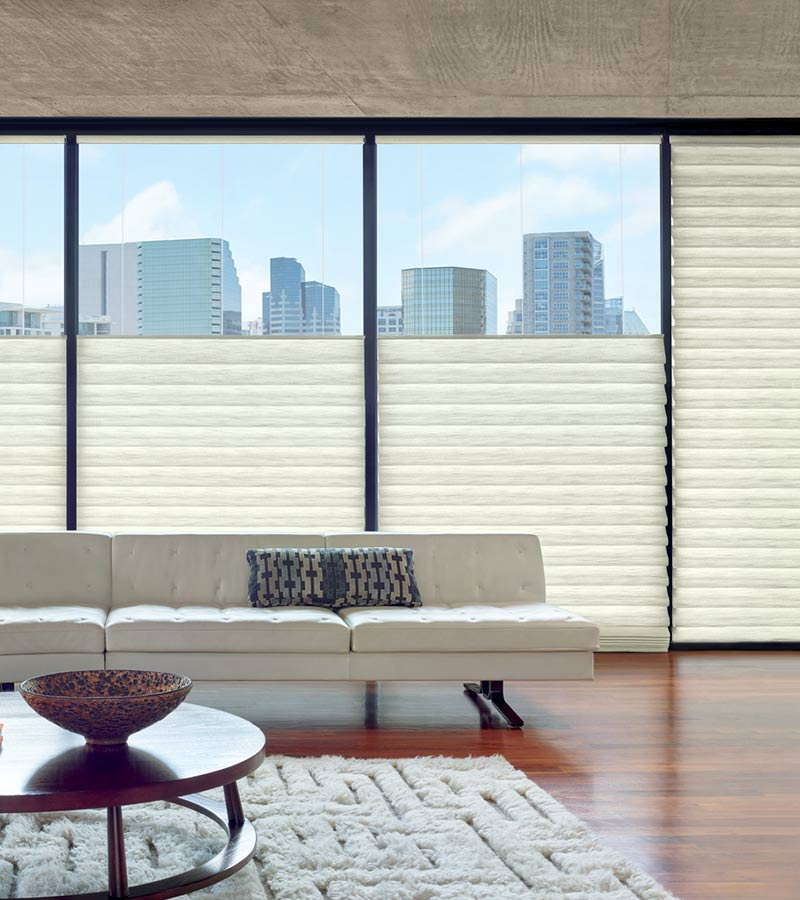 roman shades on large windows with tops lowered in San Antonio TX