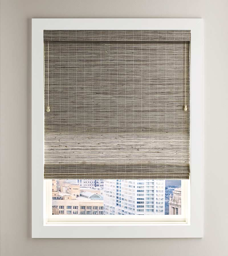 white framed window overlooking city with fabric shade in greige San Antonio 78249