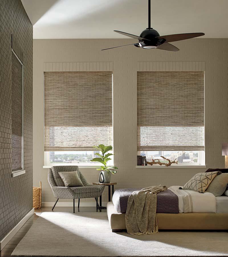 beige bedroom with woven wood shades in San Antonio 78249