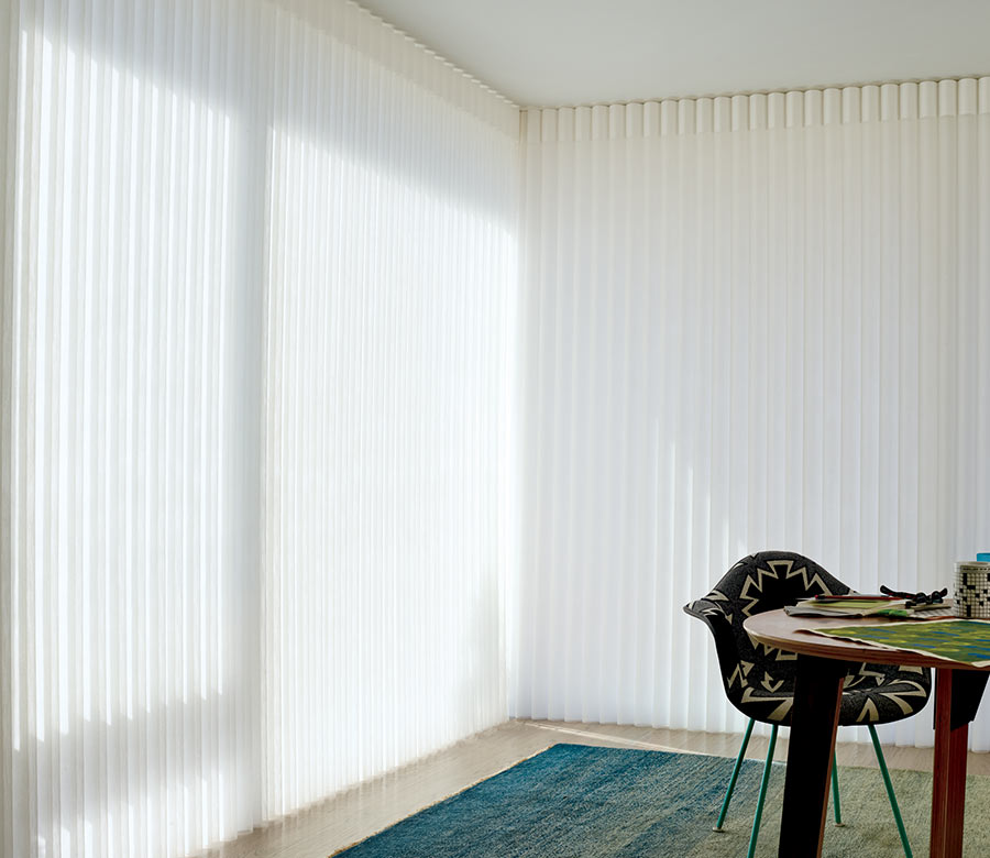 closed opaque vertical privacy sheers in Houston home office