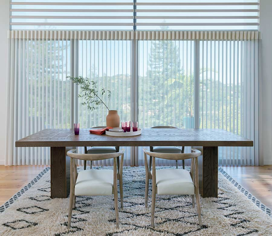 modern dining room San Antonio 78249 with vertical privacy sheers large dining room table