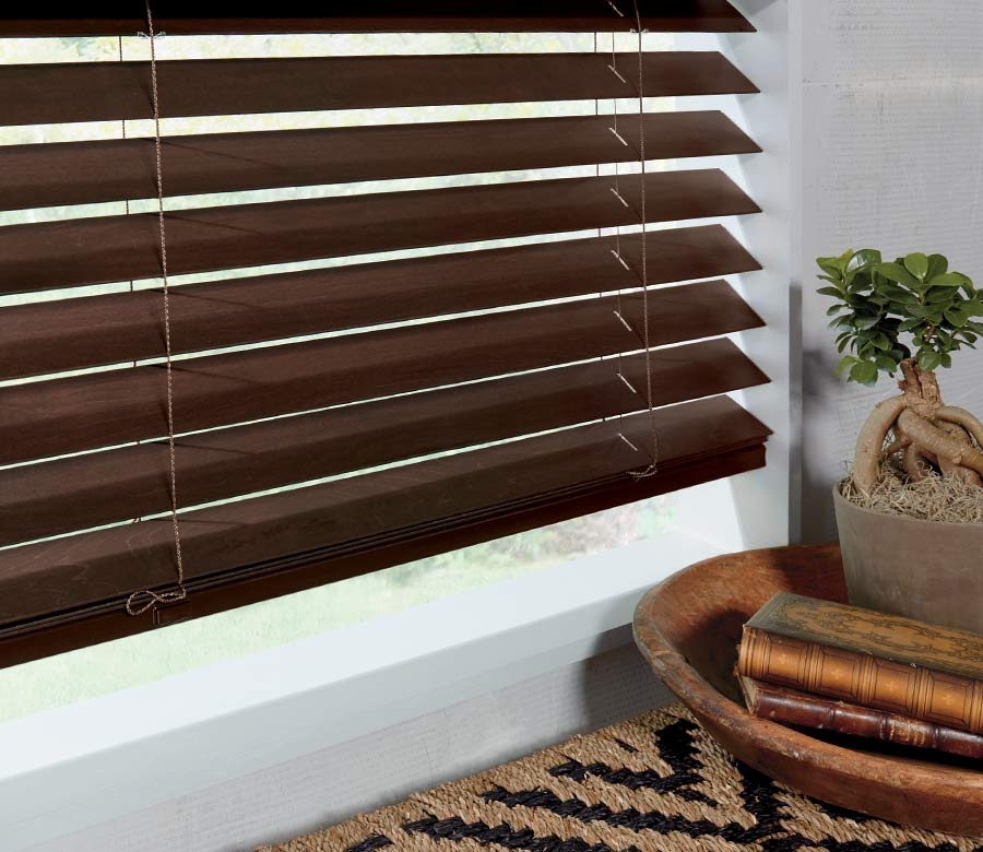 brown wood blinds in contemporary dining room San Antonio