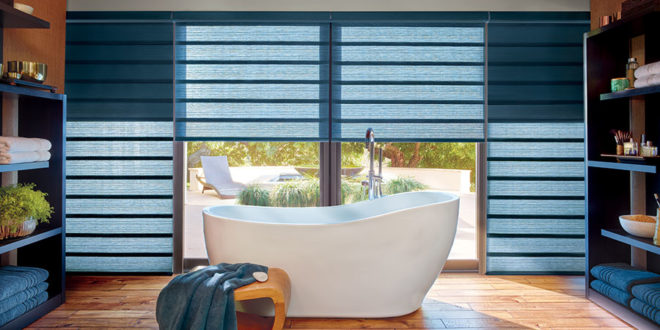 blue roman shades with two in one shades feature in bathroom in Central TX