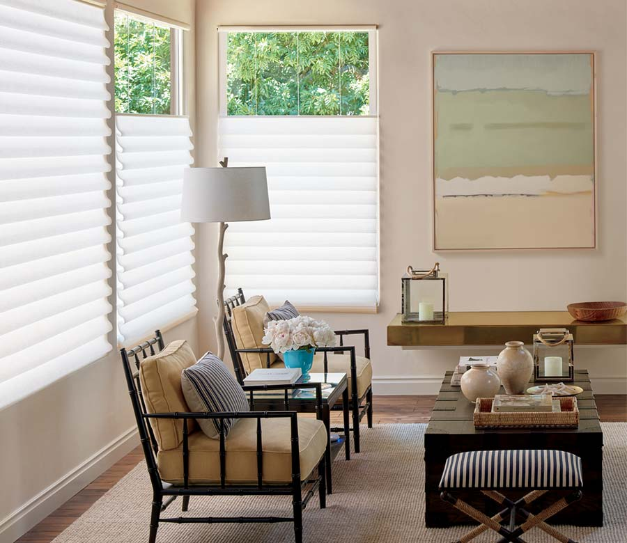 beige rustic living room with white window shades